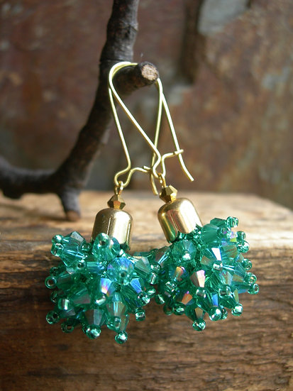 Dandelion earrings. Emerald Green
