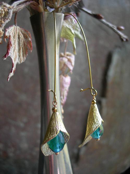 Long Calla Lily earrings. Peacock green