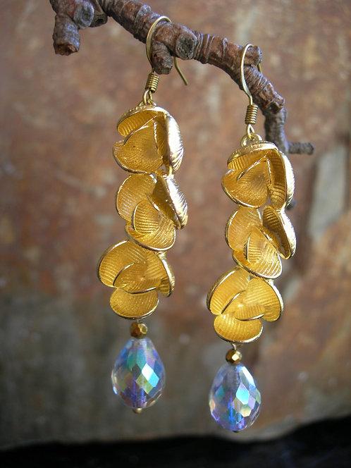 Peonies earrings. Crystal rainbow