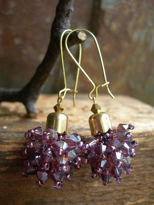 Dandelion earrings. Purple