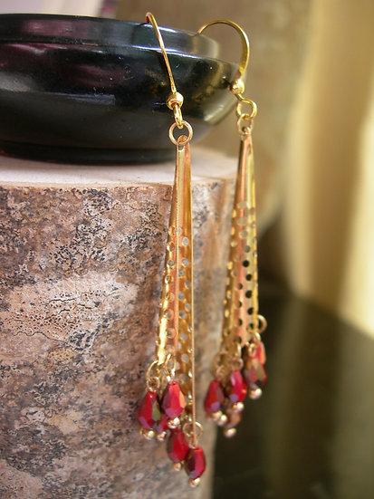 Morning Dew earrings. Red