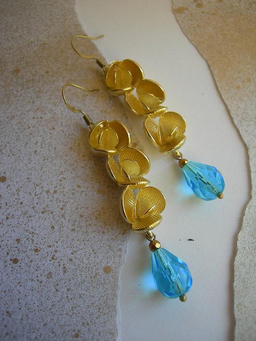 Peonies earrings. Aqua Blue