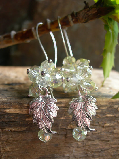 Grapes earrings. Silver plated. Citrine