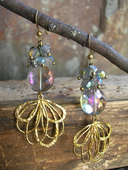 Peacock earrings. Light purple