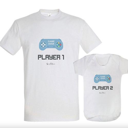 "Pack camisetas o Body  ""Player 1/2"""
