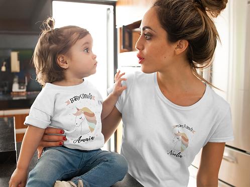 Pack camiseta mama y bebe unicornio personalizada