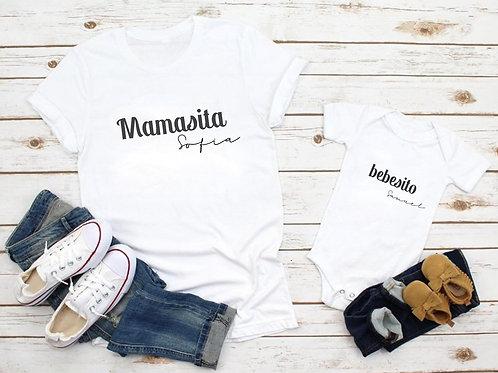 """Pack camisetas o bosy """" Mamasita y bebesito (Nombres)"""""""