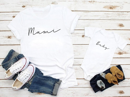 "Pack camisetas o Body ""mami y baby"""