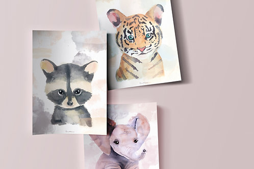 "Pack 3 Laminas Grande A3 ""Baby Animals"""