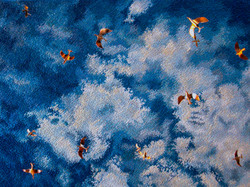 Flock of Clouds (ceiling tapestry w_copper birds