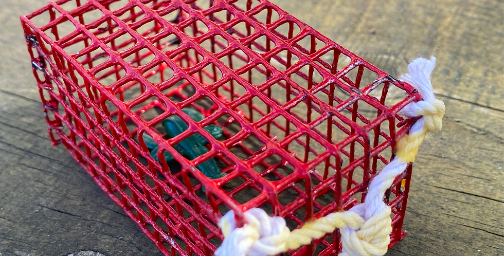 Red Mini Lobster Trap with Lobster