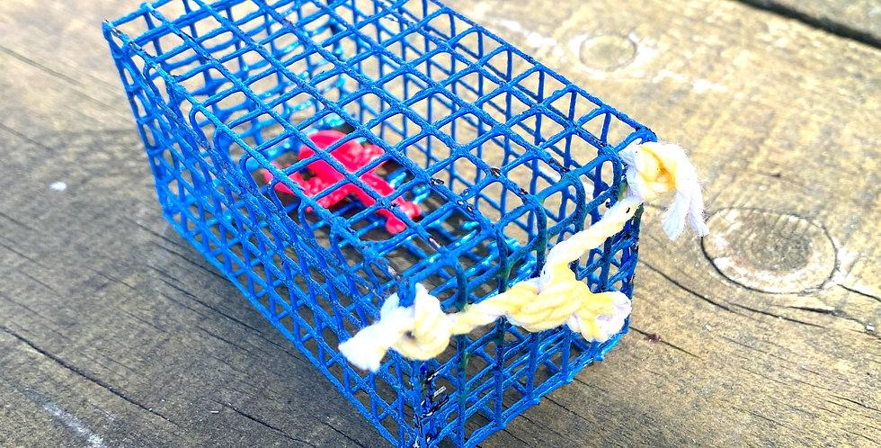Blue Mini Lobster Trap w Lobster