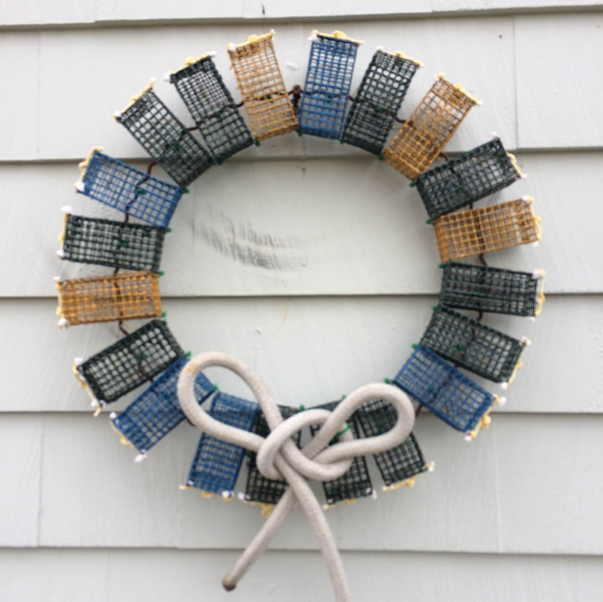 Colored Lobster Trap Wreath with White Rope Bow