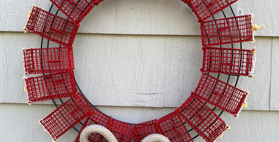 Red Mini Lobster Trap Wreath