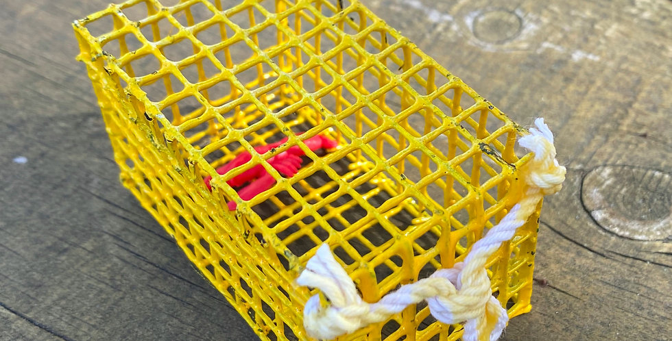 Yellow Mini Lobster Trap with Lobster