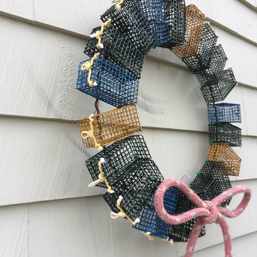 Colored Wreath with Red Rope Detail