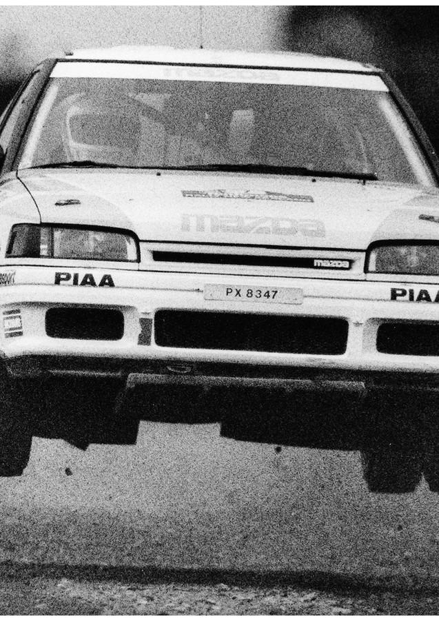 Mazda rally car jump