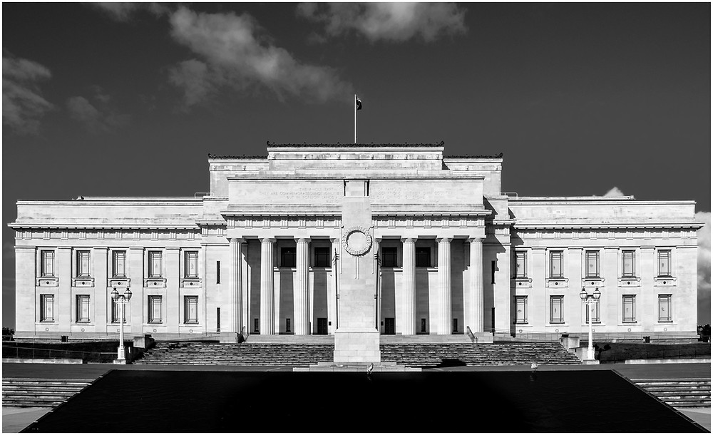 Architecture photo of the Auckland war memorial museum and cenotaph monument in the Auckland domain