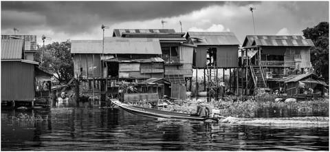 Floating village street scene, Central Cambodia