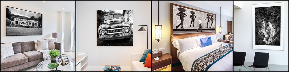 a montage of Kirk Vogel photographer's black and white art prints hanging on client walls