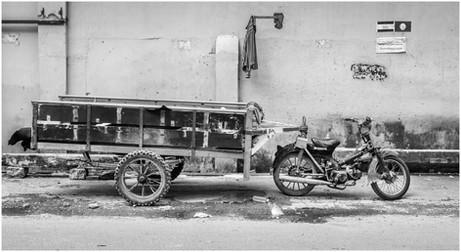 Tradesman motor bike and trailer, Phnom Penh