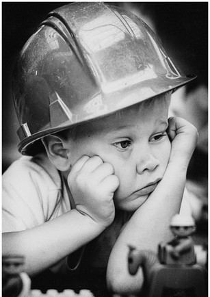 Toddler with construction hat