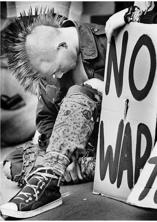 Punk protestor outside US embassy