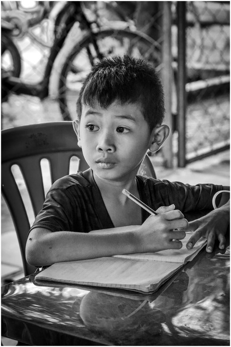 Cambodian student in class