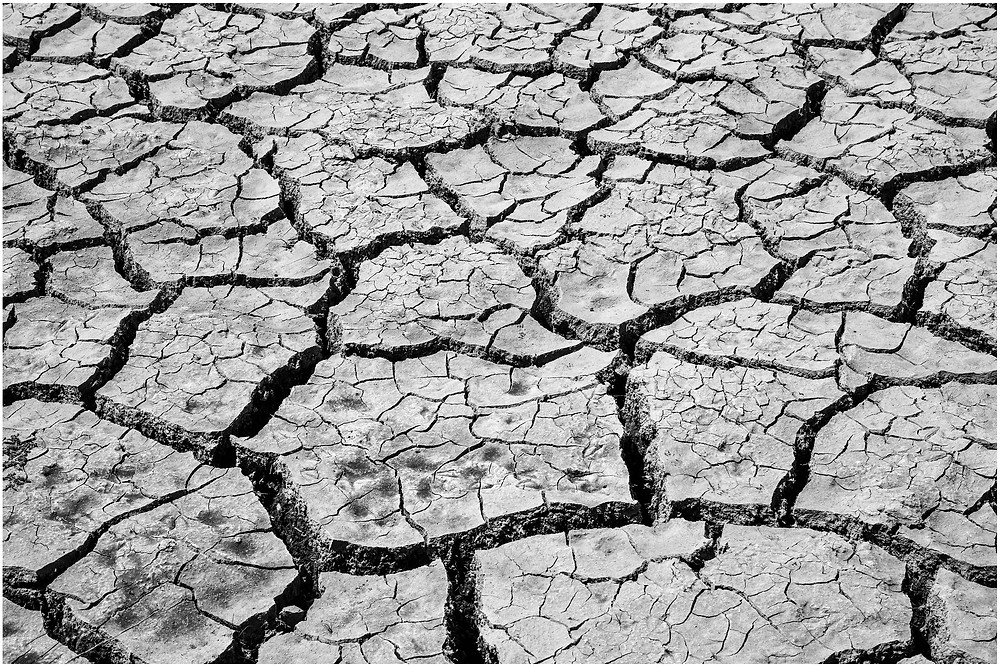 farmland shows cracks in the ground due to drought from a long dry summer