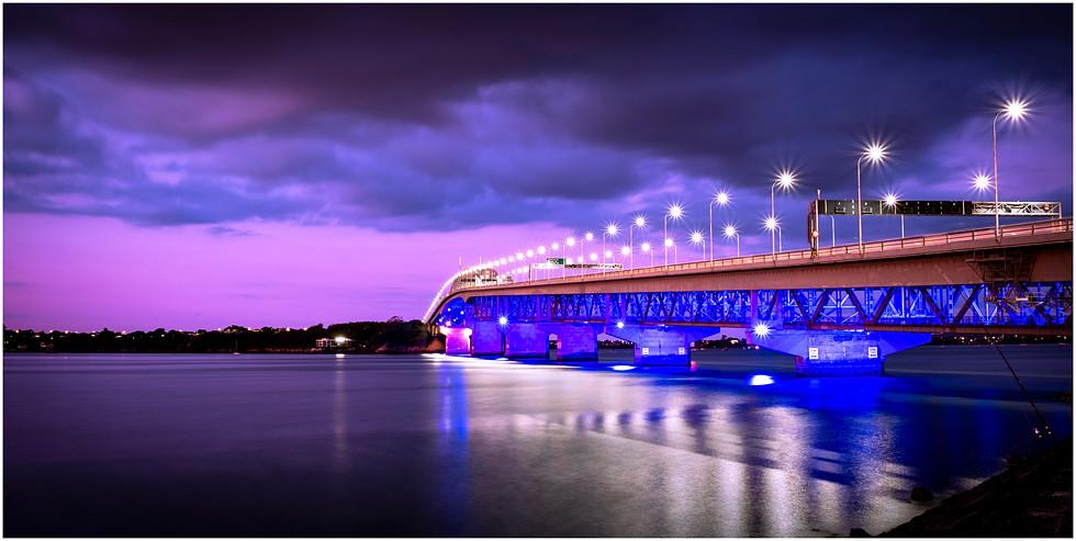 Auckland harbour bridge at sunset