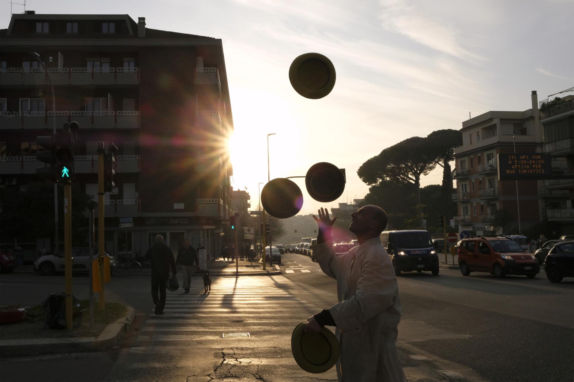 Andrea, a street juggler, Rome, Italy, 2019