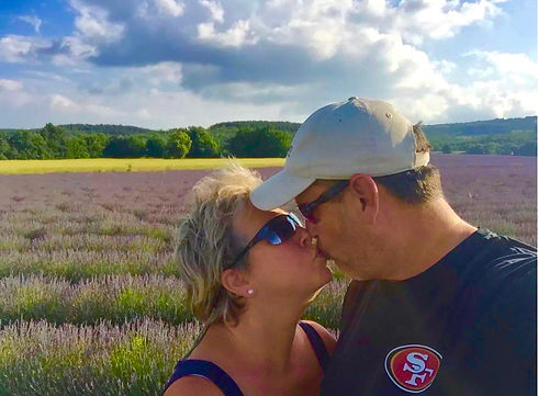 Nadia and Jeff Kissing Lavender Field.jp