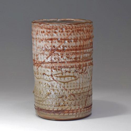 Cylinder vase, Shino glaze