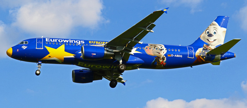 """Eurowings visit with new colourful """"Europa Park"""" livery Dresden Airport (DRS)"""