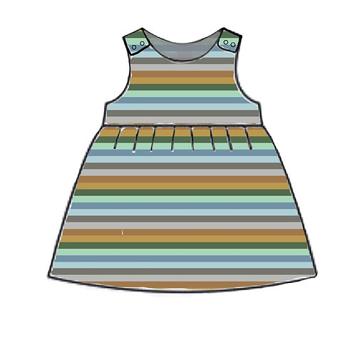 Grassland Stripe Pinafore Dress