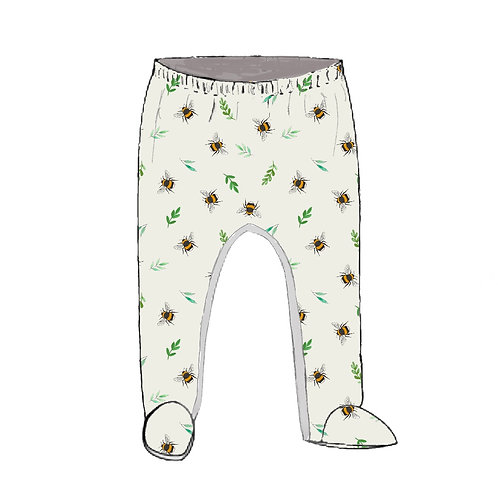Botanical Bees Footed Baby Leggings