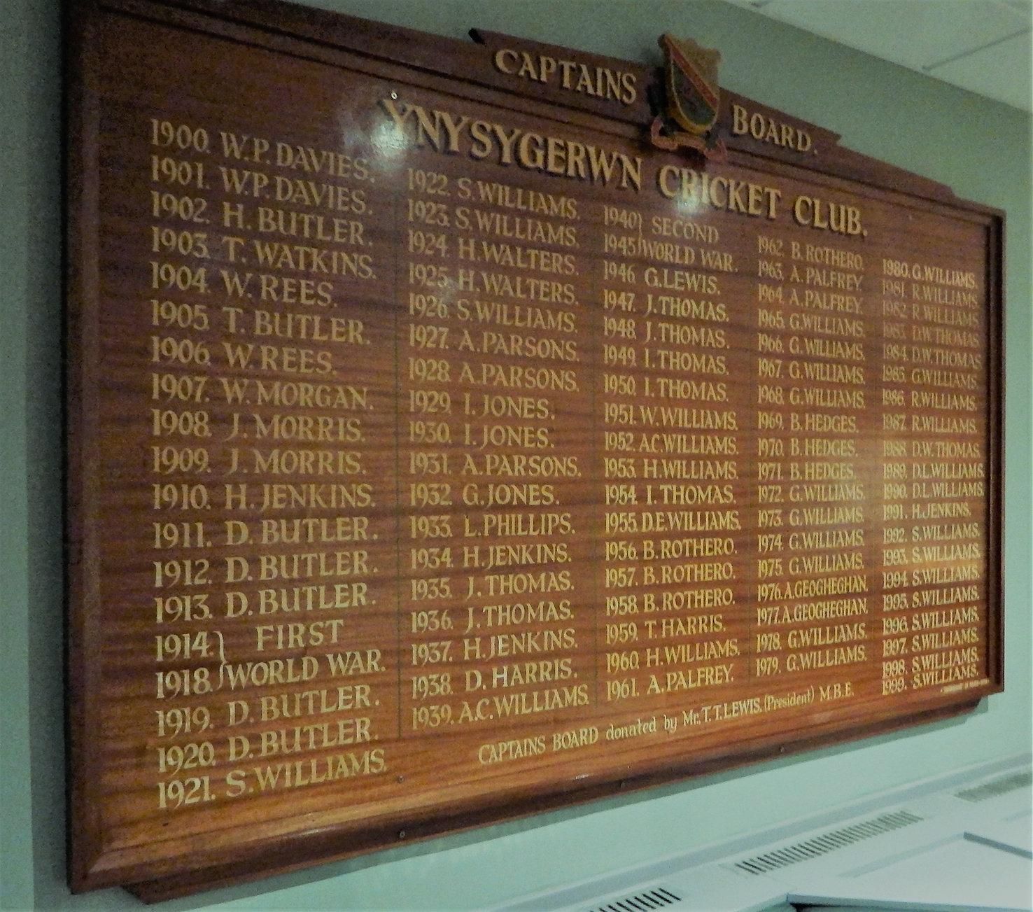 Ynysygerwn Captains Board