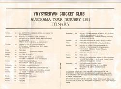 ynys tour to Australia program 1991