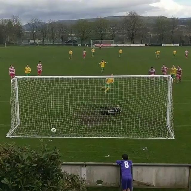 Josh Roberts fires home a 93rd minute penalty to secure 3 points in Saturday Derby against Trefelin