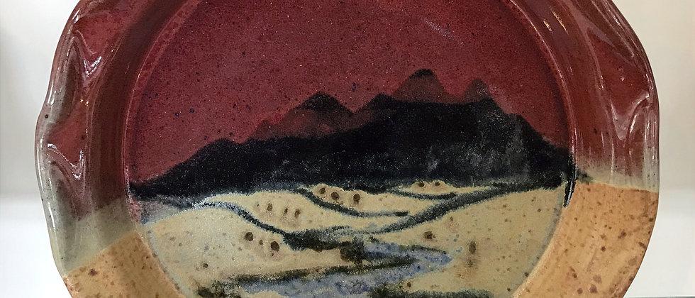 mountain landscape pie plate