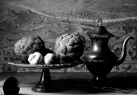 Alcachofas con jarra. Black & White. From the bodegon series, 2015