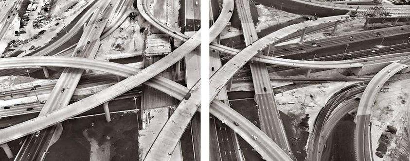"""""""Crossroads 2""""_Framed_Aerial Diptych Photograph_2015_Jill Peters"""