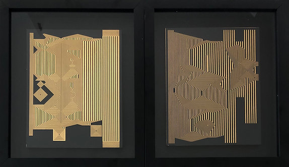 Untitled & Untitled 13 Diptych Gold Leaf on MDF, 2019 Framed