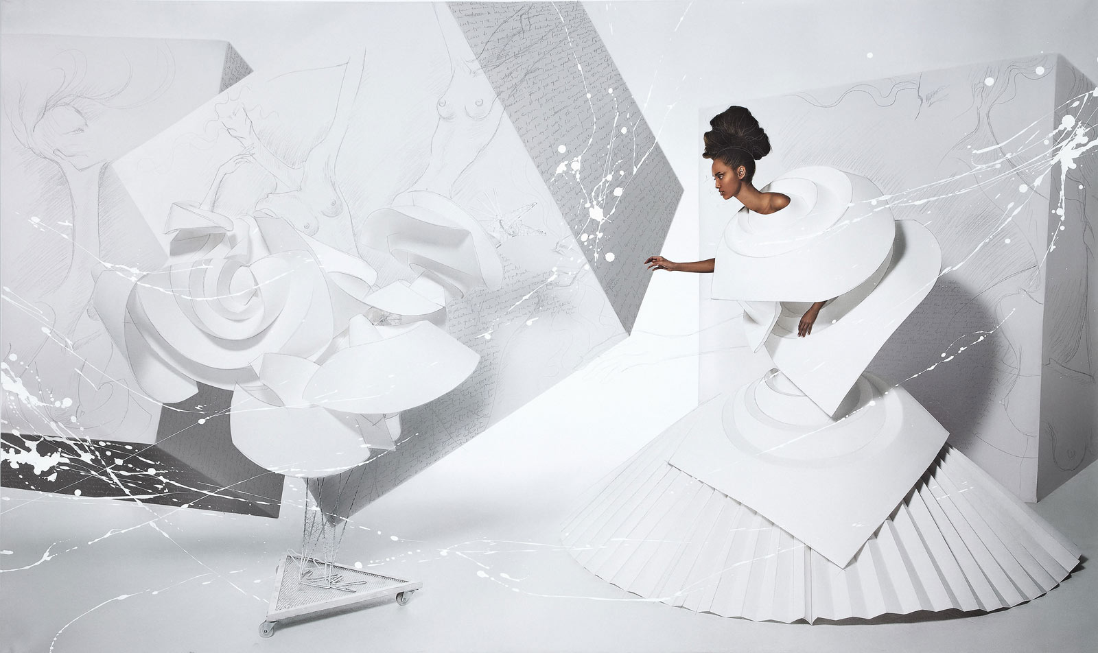 Black Girl in Origami Dress with Rooster II, 2010