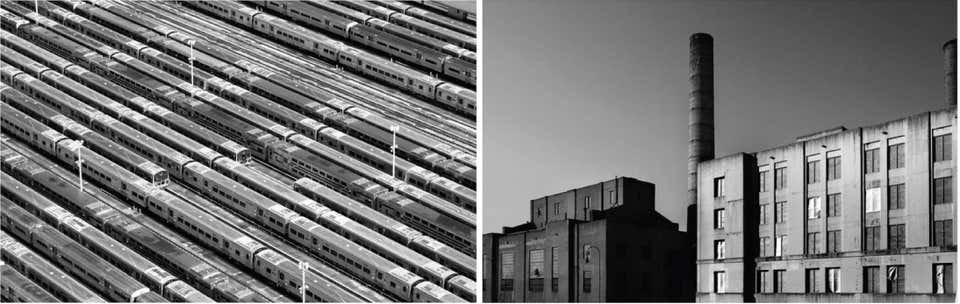 """Subway Cars"", and ""Factory""_Aerial Photograph Set_2015_Jill Peters"
