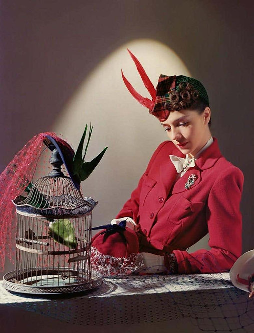Fashion in Colour Ensemble by Bergdorf Goodman, Jewelry by Cartier, 1939