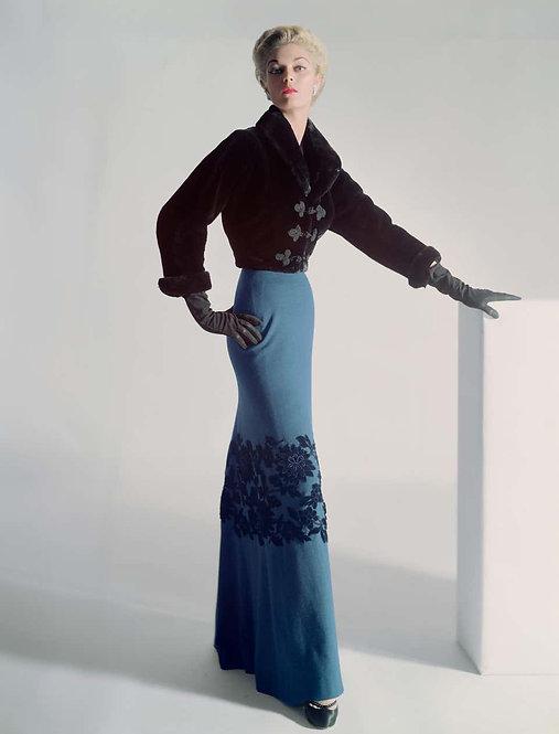 Jean Patchett in Sealskin Mainbocher Jacket and Floor-Length Skirt, 1951