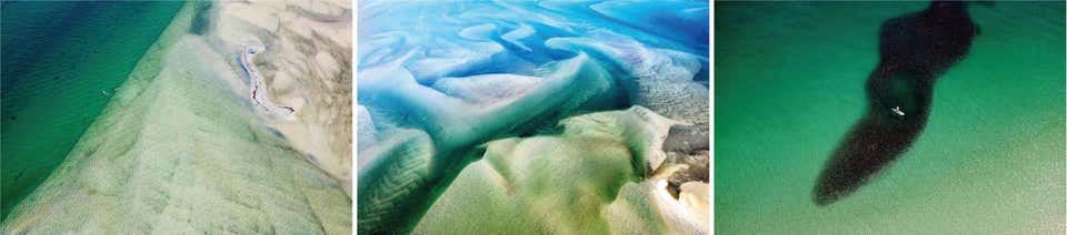 """""""Pelican Isle"""", """"Landscape 3"""", and """"School of Fish""""_Aerial Photograph Set_2015_Jill Peters"""