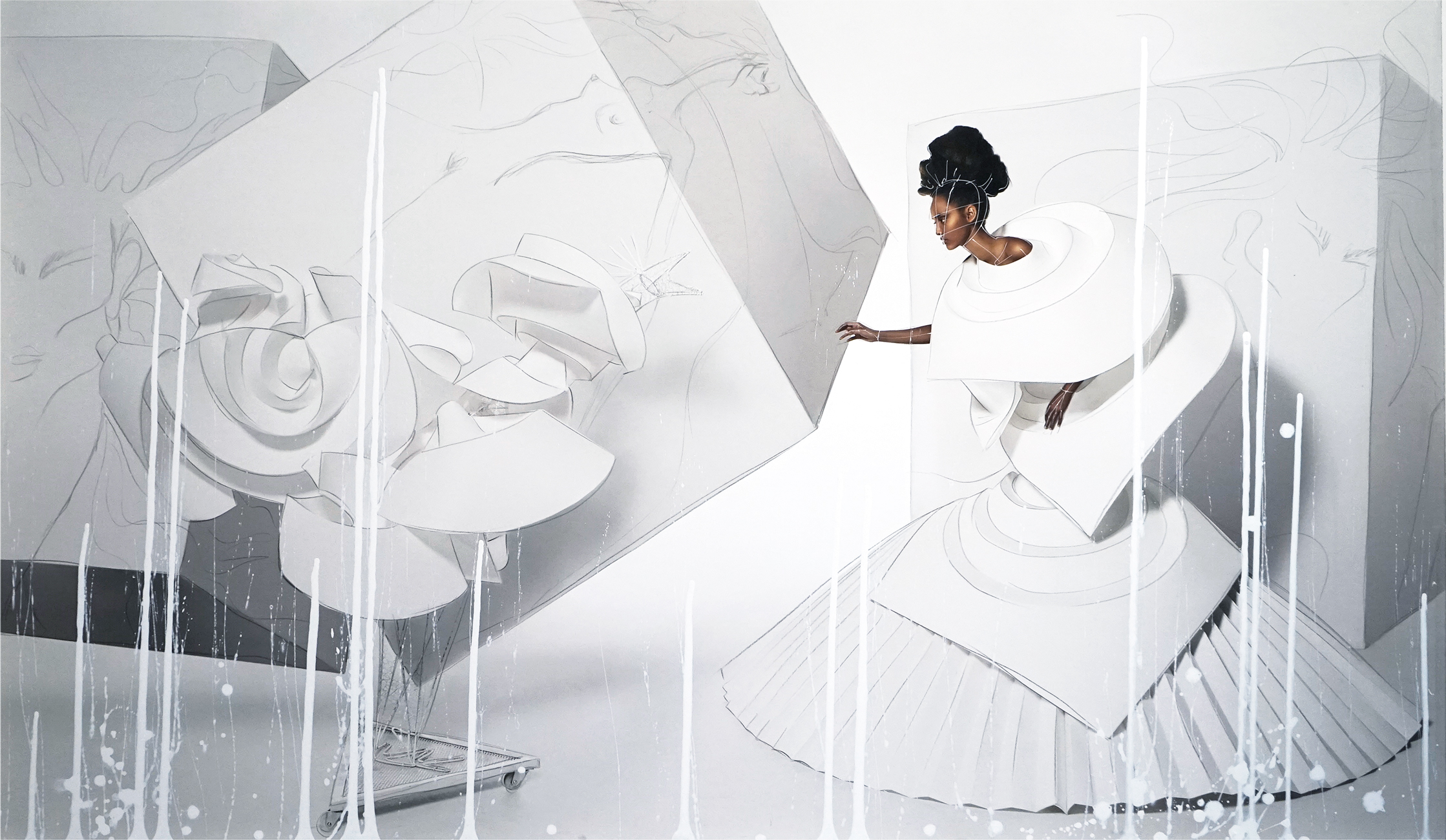 Black Girl in Origami Dress with Rooster I, 2010