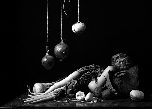 Bodegón de verduras I. Black & White. From the bodegon series, 2015